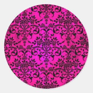 Bright Fucshia and Black Floral Damask Pattern Classic Round Sticker