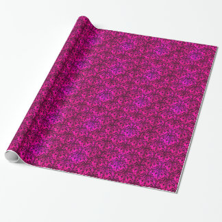 Bright Fucshia Pink and Black Floral Damask Wrapping Paper