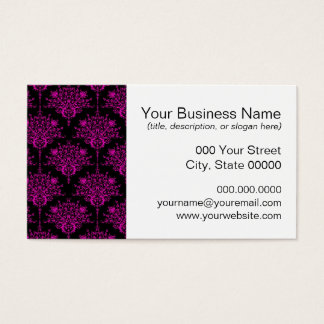 Bright Fucshia Pink over Black Damask Pattern Business Card
