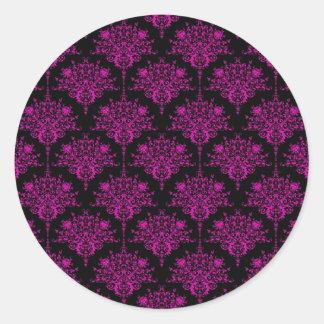 Bright Fucshia Pink over Black Damask Pattern Classic Round Sticker
