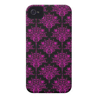 Bright Fucshia Pink over Black Damask Pattern iPhone 4 Case