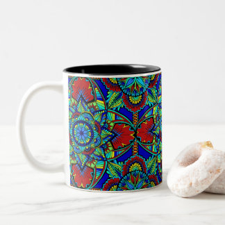 Bright Full Mandala Color 2 Two-Tone Coffee Mug
