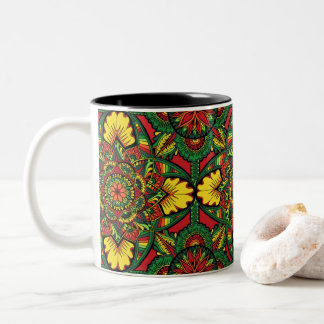 Bright Full Mandala Design Two-Tone Coffee Mug