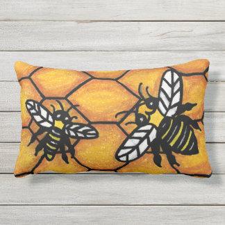 Bright Fun Black Yellow Buzzing Bees on Honey Comb Lumbar Pillow