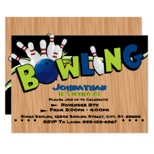 Bowling Birthday Invitations Announcements Zazzle