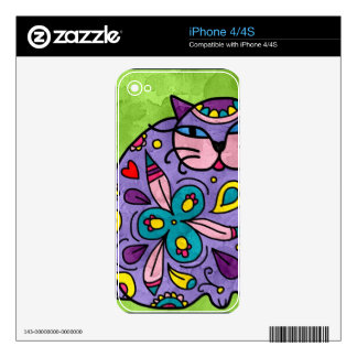 Bright fun Cat Design Decal For The iPhone 4S