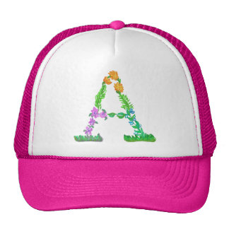 Bright Fun Colorful hand drawn Monogram A Trucker Hat