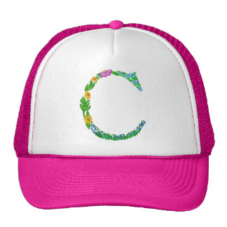 Bright Fun Colorful hand drawn Monogram C Trucker Hat