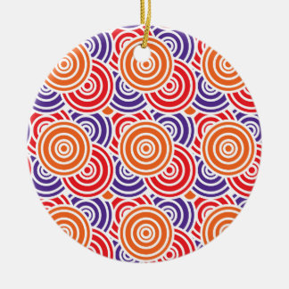 Bright Fun Concentric Circle Pattern Gifts Ceramic Ornament