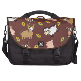 Bright Fun Cute Whimsy Farm Animals Pattern Laptop Computer Bag
