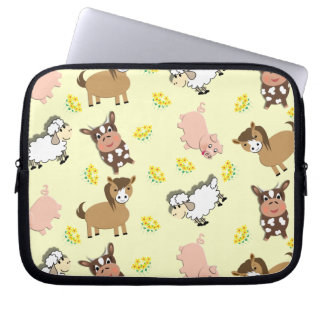 Bright Fun Cute Whimsy Farm Animals Pattern Laptop Computer Sleeve