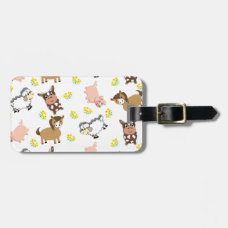 Bright Fun Cute Whimsy Farm Animals Pattern Tag For Bags