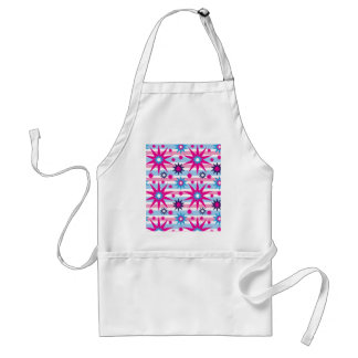 Bright Fun Hot Pink Blue Stars Snowflakes Striped Adult Apron