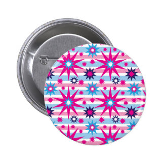 Bright Fun Hot Pink Blue Stars Snowflakes Striped Pinback Buttons
