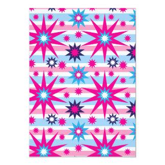 Bright Fun Hot Pink Blue Stars Snowflakes Striped Card