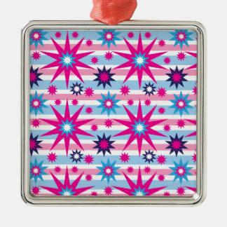 Bright Fun Hot Pink Blue Stars Snowflakes Striped Metal Ornament