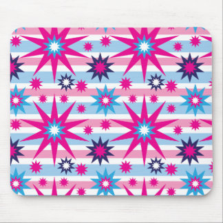 Bright Fun Hot Pink Blue Stars Snowflakes Striped Mouse Pad