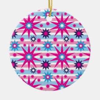 Bright Fun Hot Pink Blue Stars Snowflakes Striped Christmas Ornament