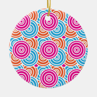 Bright Fun Layered Concentric Circles Pattern Gift Ceramic Ornament