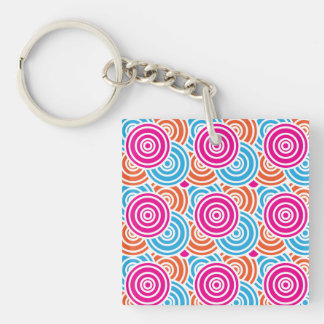 Bright Fun Layered Concentric Circles Pattern Gift Double-Sided Square Acrylic Keychain