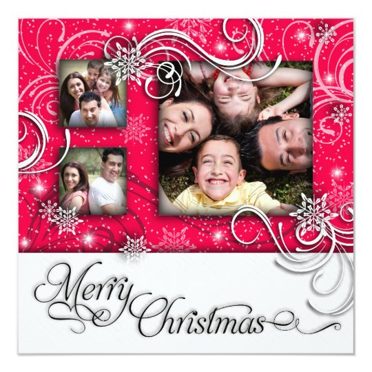 Bright Fun Snow Flake Christmas Photo Card Invite