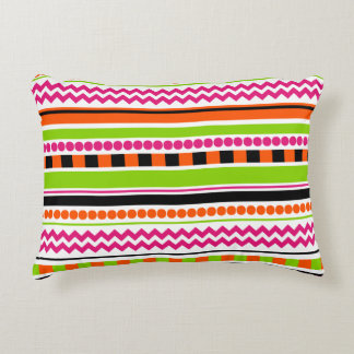 Bright, Funky and Colorful Striped Pattern Design Accent Pillow
