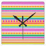 Bright, Funky & Colorful Striped Pattern Design Square Wall Clocks