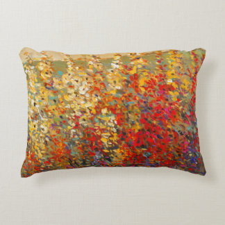 Bright Garden Mural of Spring Wildflowers Decorative Pillow