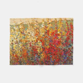Bright Garden Mural of Spring Wildflowers Fleece Blanket