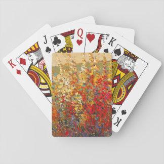 Bright Garden Mural of Spring Wildflowers Poker Deck