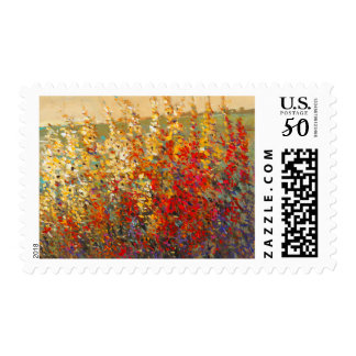 Bright Garden Mural of Spring Wildflowers Postage