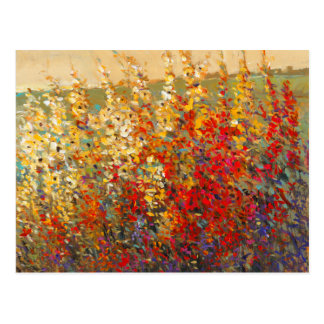 Bright Garden Mural of Spring Wildflowers Postcard