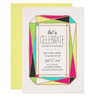 Bright Gem Birthday Party Card