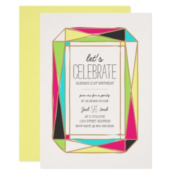 Bright Gem Birthday Party Card by origamiprints at Zazzle