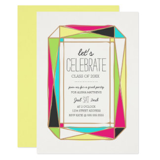 Bright Gem Grad Party Card