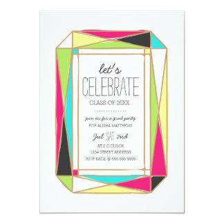 Bright Gem Grad Party 5x7 Paper Invitation Card