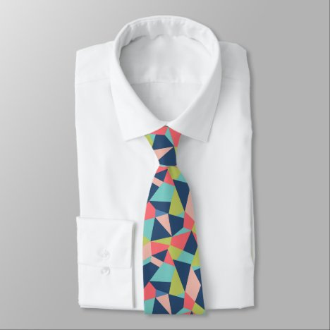 Bright geometric abstract patchwork neck tie