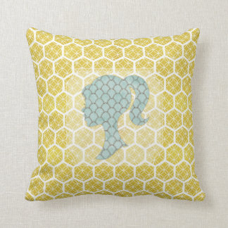 Bright Geometric Design With Shabby Silhouette Throw Pillow