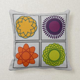 Bright Geometric Four-Square - Cotton Throw Pillow