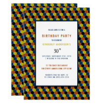 Bright Geometric Pattern, Modern Birthday Party Card
