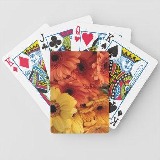 Bright Gerbera Flowers, Orange Yellow, Flora Bicycle Playing Cards