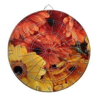 Bright Gerbera Flowers, Orange Yellow, Flora Dartboard