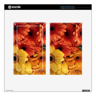 Bright Gerbera Flowers, Orange Yellow, Flora Decals For Kindle Fire