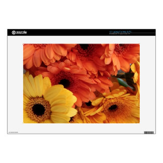 Bright Gerbera Flowers, Orange Yellow, Flora Decals For Laptops