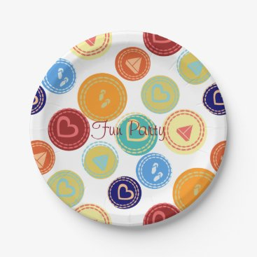 Beach Themed Bright Giant Dots Fun Beach Party Paper Plate
