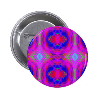 Bright Girly Chic Neon Tribal Pattern Button