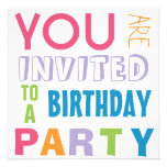 Bright Girly Colors Teen Tween Birthday Party Announcements