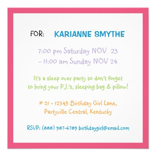 Bright Girly Colors Teen Tween Birthday Party Announcements (back side)