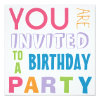 Bright Girly Colors Teen Tween Birthday Party 5 25x5 25 Square Paper Invitation Card