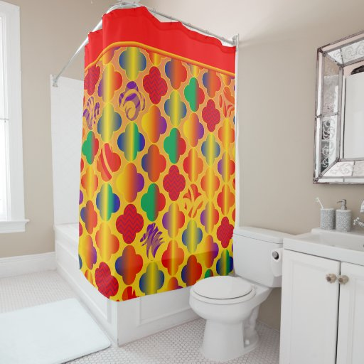 Bright Girly Funky Fun Patterns Shower Curtain